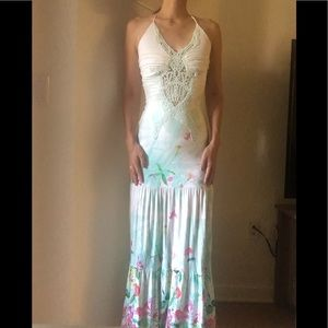 NWT Sky floral lace halter maxi dress size small